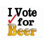 Voto por la cerveza tarjeta postal