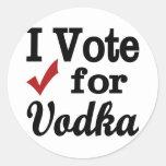 Voto por la vodka pegatinas redondas