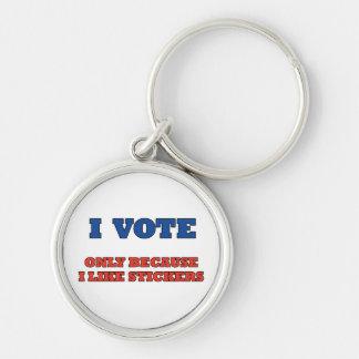 Voto por llavero de las etiquetas engomadas