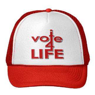 Voto por vida gorros