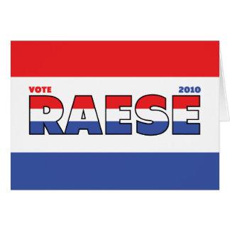 Voto Raese 2010 elecciones blanco y azul rojos Tarjeta De Felicitación