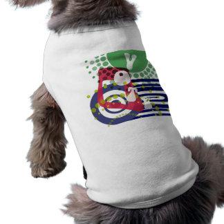 Voto retro enrrollado playera sin mangas para perro