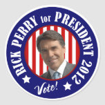 Voto Rick Perry para el presidente 2012 Pegatina Redonda