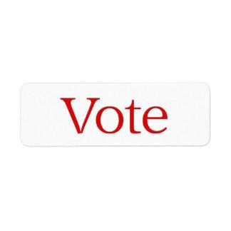 voto rojo etiqueta de remitente