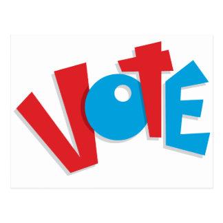 Voto rojo y azul tarjeta postal