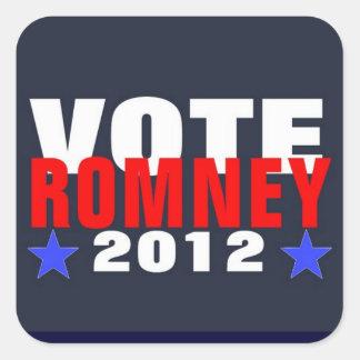 Voto Romney 2012 pegatinas Calcomanía Cuadradas Personalizadas