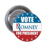 Voto Romney para presidente Button Pin