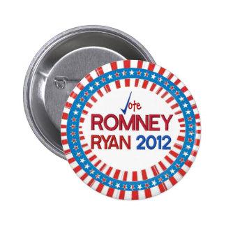 Voto Romney Ryan 2012 estrellas y botón de las Pin Redondo De 2 Pulgadas
