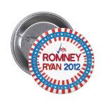 Voto Romney Ryan 2012 estrellas y botón de las ray Pin
