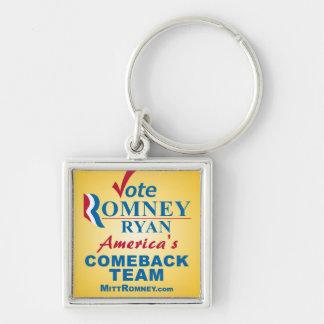 Voto Romney Ryan - Obama anti Llavero Cuadrado Plateado