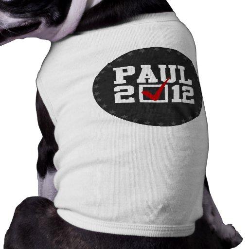 VOTO RON PAUL 2012 (blanco) Camiseta De Perro