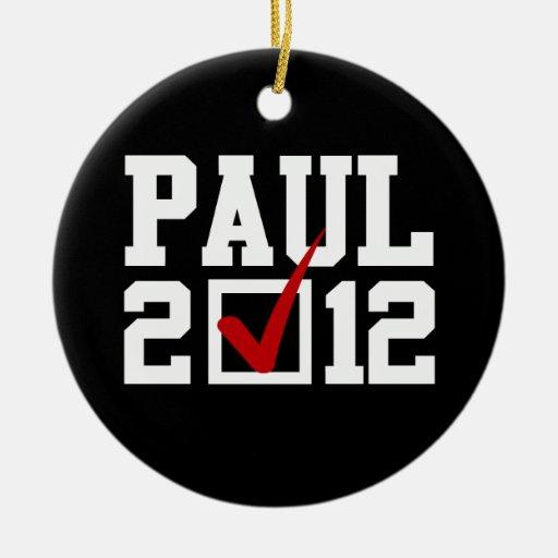VOTO RON PAUL 2012 (blanco) Ornamentos De Navidad