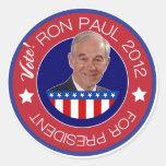 Voto Ron Paul 2012 Etiqueta Redonda