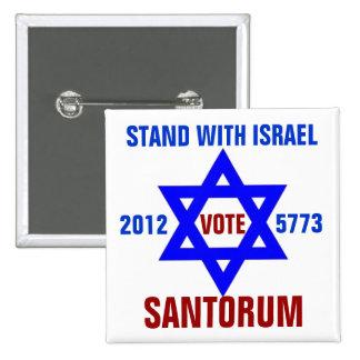 Voto Santorum de Israel de la ayuda Pin Cuadrada 5 Cm