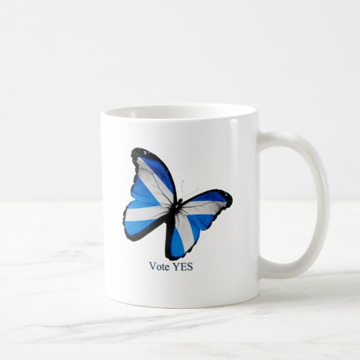 Voto sí para la independencia escocesa tazas de café