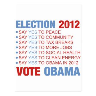 Voto sí para Obama Tarjetas Postales