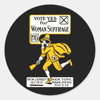 ¡Voto sí! Sufragio para mujer 1915 Pegatina Redonda