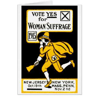 ¡Voto sí! Sufragio para mujer 1915 Tarjeta De Felicitación