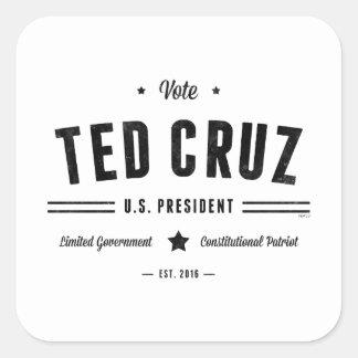 Voto Ted Cruz 2016 Pegatina Cuadrada