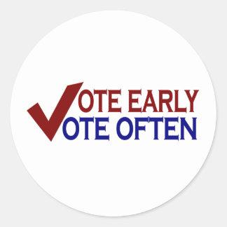 Voto temprano del voto a menudo pegatinas redondas