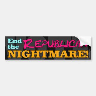 ¡VOTO! Termine la pesadilla republicana Pegatina De Parachoque