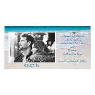 Votos costeros que casan reserva la fecha tarjetas fotográficas