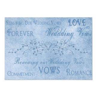 """Votos de boda de la renovación - texturas del azul invitación 5"""" x 7"""""""