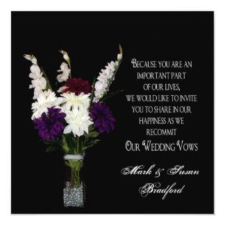 """Votos de boda de renovación - centro de flores invitación 5.25"""" x 5.25"""""""