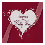 Votos de boda de renovación - corazón/cinta floral invitaciones personales