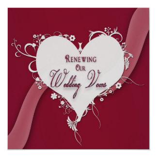 """Votos de boda de renovación - corazón/cinta invitación 5.25"""" x 5.25"""""""