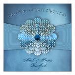 Votos de boda de renovación - invitación - azul invitación 13,3 cm x 13,3cm