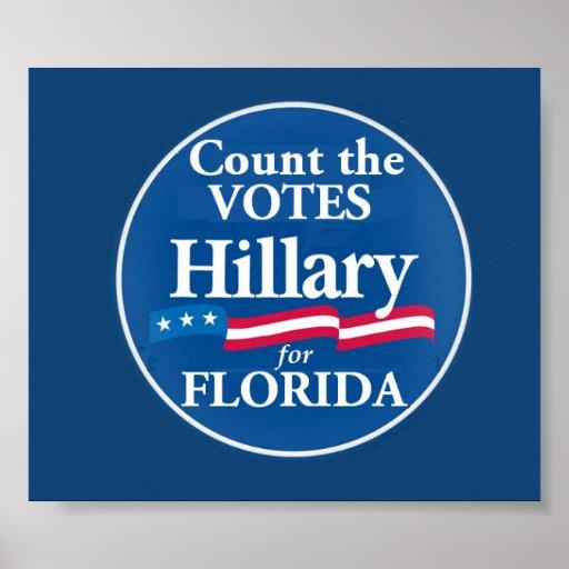 Votos de Clinton para el poster de la FLORIDA