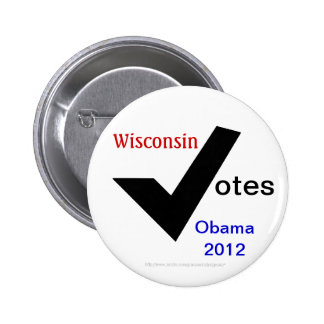 Votos de Wisconsin Obama 2012 Pin
