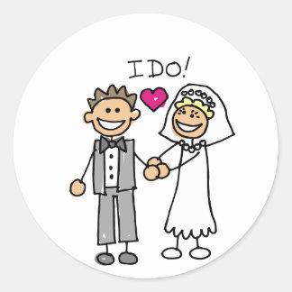Votos del intercambio de novia y del novio pegatina redonda