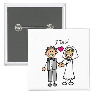 Votos del intercambio de novia y del novio pin cuadrado