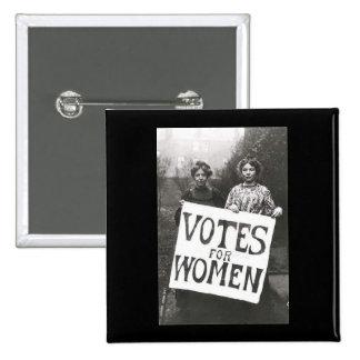 Votos para las mujeres pin cuadrado