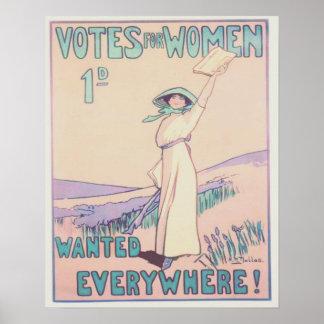 Votos para las mujeres por todas partes póster