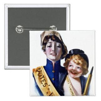 Votos para las mujeres - Suffrage de las mujeres,  Pin Cuadrada 5 Cm