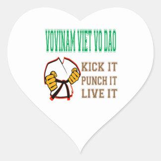 Vovinam Viet Vo Dao Kick it Punch it Live it Heart Stickers