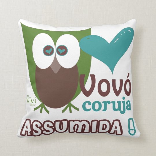 Vovó Coruja Assumida Throw Pillow