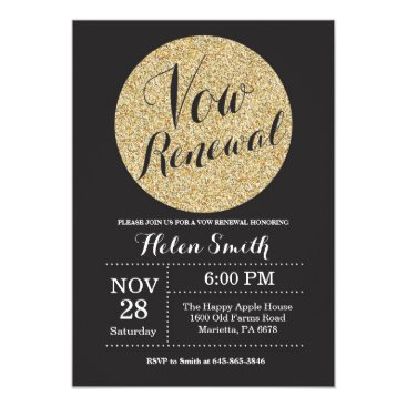 Happyappleshop Vow Renewal Black and Gold Glitter Invitation