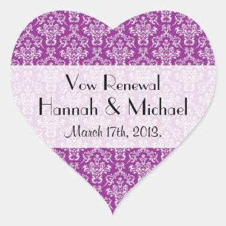 Vow Renewal - Damask, Ornaments - Purple White Heart Sticker