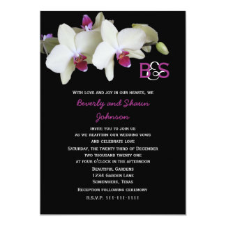 Vow Renewal Floral Yellow Orchids and Monogram 5x7 Paper Invitation Card