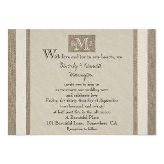 "Vow Renewal Invitation -- Burlap Parchment Look 5"" X 7"" Invitation Card"