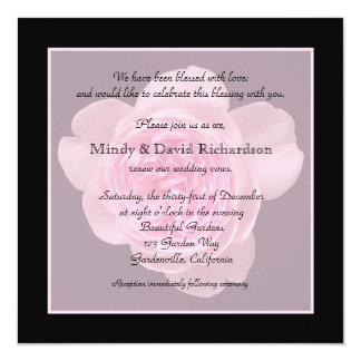 "Vow Renewal Invitation -- Pink Rose Vow Renewal 5.25"" Square Invitation Card"