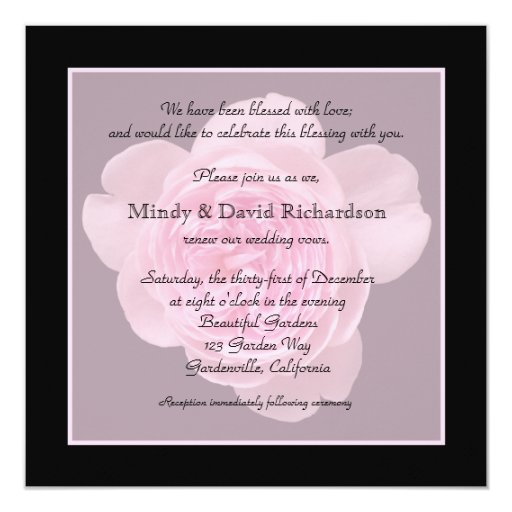 "Vow Renewal Invitation -- Pink Rose Vow Renewal 5.25"" Square Invitation Card"