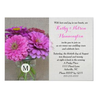 "Vow Renewal Invitation - Rustic Mason Jar Burlap 5"" X 7"" Invitation Card"