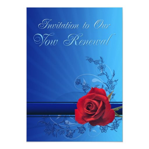 Vow renewal invitation with a red rose of love
