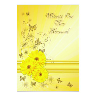 Vow renewal Invitation with yellow flower