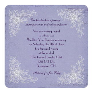 Vow Renewal-lace corners and music background Card